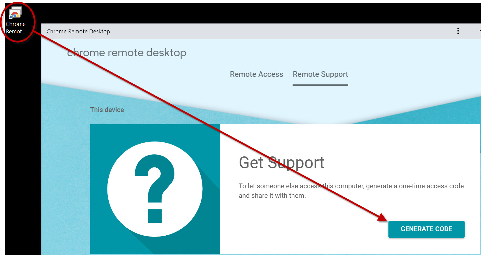 chrome remote desktop shortcut